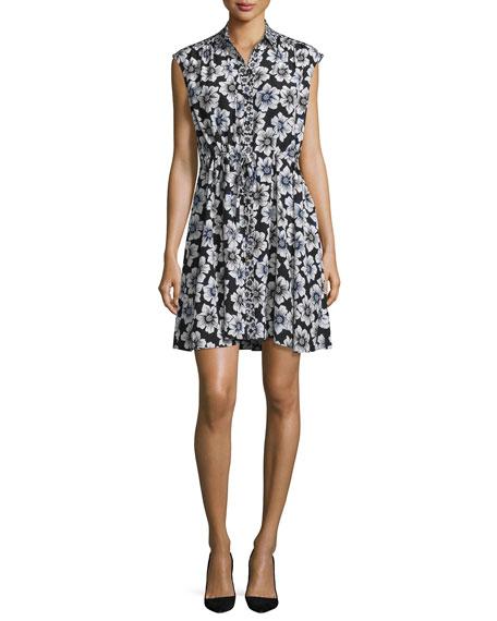 kate spade new yorkcollared floral silk-blend shirtdress, black