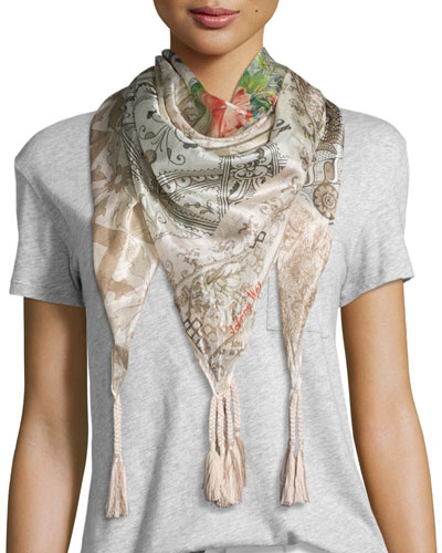 Neil Printed Silk Tassel Scarf, Brown/Multi