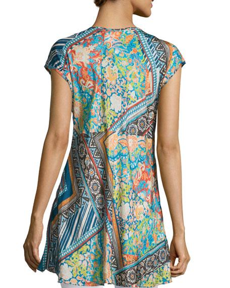 Roseton Cap-Sleeve Printed Tunic, Multi Colors, Plus Size