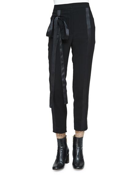 Monique Lhuillier Tapered-Leg Cropped Tuxedo Pants, Noir