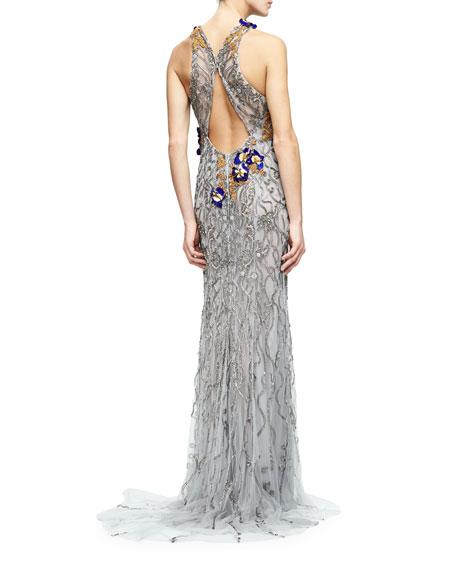 Sleeveless Embroidered Column Gown, Gunmetal