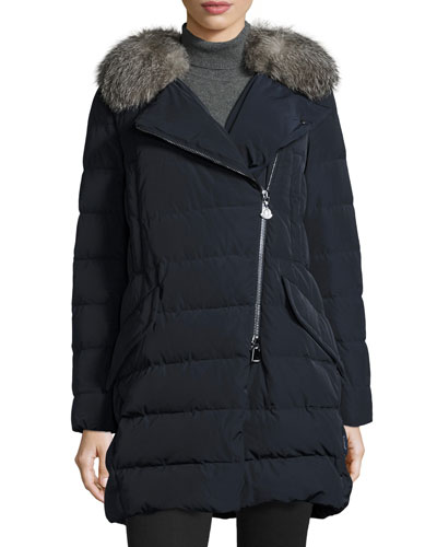 Metrodora Matte Puffer Coat w/Fur Collar, Black