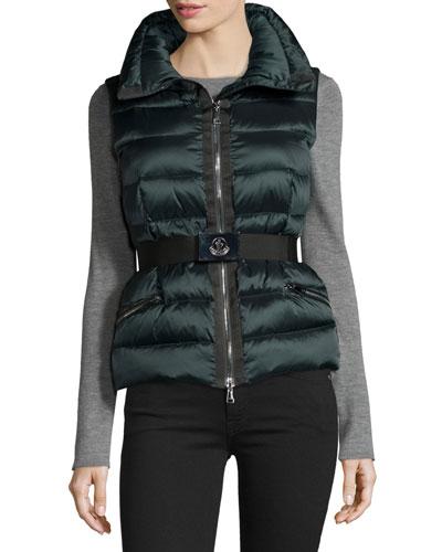 Tareg Belted Puffer Vest, Dark Green
