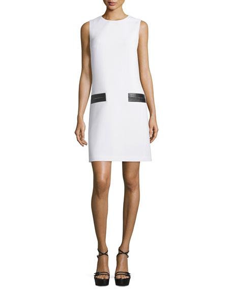 Michael Kors Collection Sleeveless Leather-Trim Shift Dress,