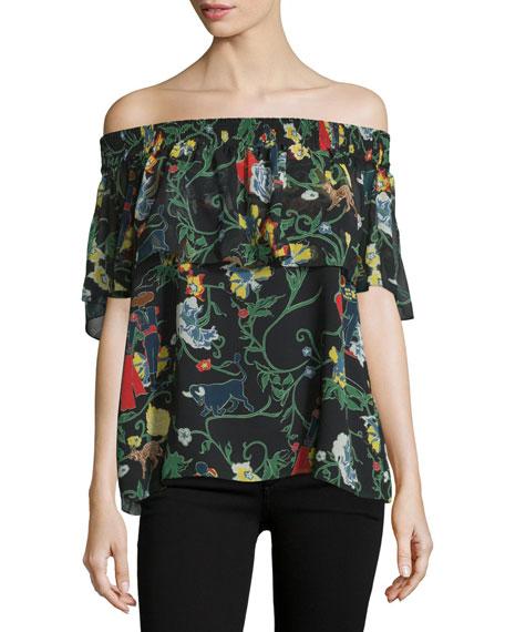 Tibi Printed Silk Off-the-Shoulder Popover Top, Blamu