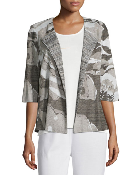 Misook Floral Focus 3/4-Sleeve Jacket, Ivory/Latte/Black