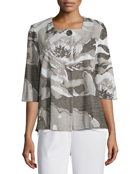 Floral Focus 3/4-Sleeve Jacket, Ivory/Latte/Black, Petite
