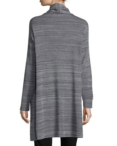 Long-Sleeve Open-Front Jacket, Neutral Gray/Black