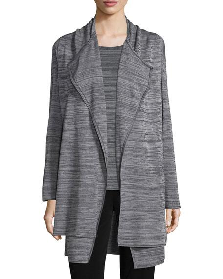 Misook Long-Sleeve Open-Front Jacket, Neutral Gray/Black, Plus