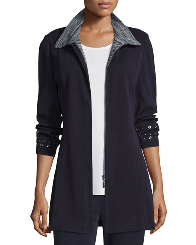 Grommet-Embellished Zip-Front Jacket, Navy/New Ivory