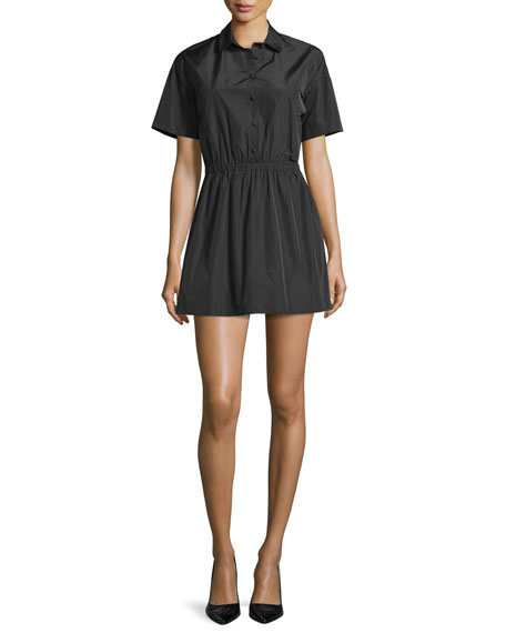 RED Valentino Short-Sleeve Button-Front Mini Shirtdress, Nero