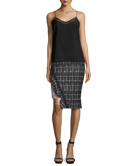 Ruffle-Trim Space-Dyed Pencil Skirt, White/Black