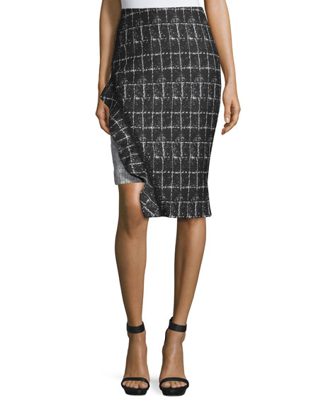 Jonathan Simkhai Ruffle-Trim Space-Dyed Pencil Skirt, White/Black