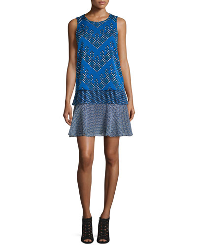 Liza Tiered Flounce Chevron Dots Dress