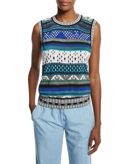 Kyra Sleeveless Chevron Bands Sweater, Blue