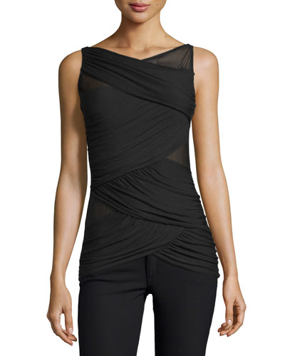 Juxtaposition Wrap-Front Sleeveless Top