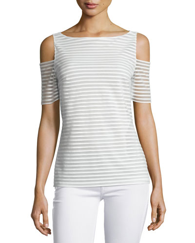 Shadow Play Striped Cold-Shoulder Top