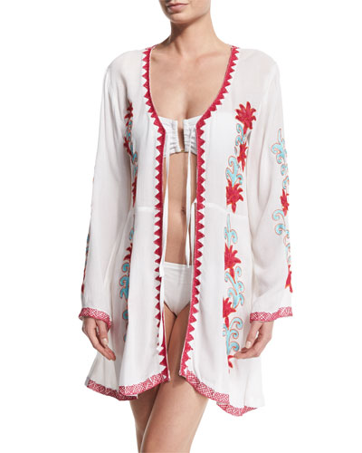 Embroidered Tie-Front Tunic Coverup