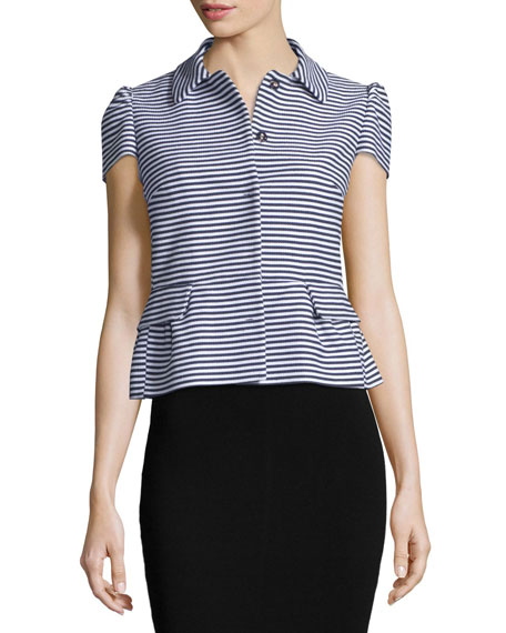 RED Valentino Striped Short-Sleeve Peplum Jacket