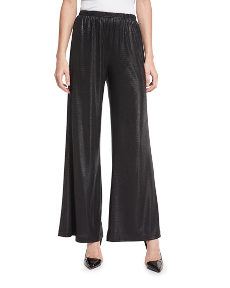 Caroline Rose Liquid Luster Wide-Leg Pants, Black