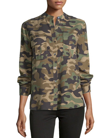 BCBGMAXAZRIA Anderson Camouflage-Print Silk Shirt
