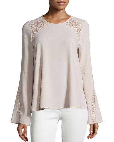 Chrystie Bell-Sleeve Lace-Inset Top