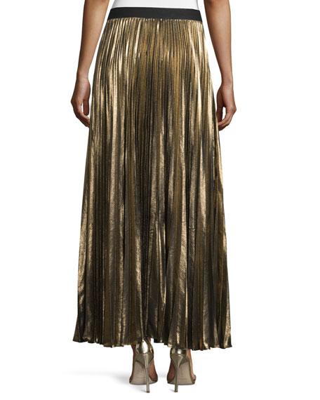 Dallin Metallic Plissé Maxi Skirt, Black/Gold