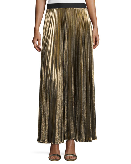 bcbgmaxazria dallin metallic pliss 233 maxi skirt black gold