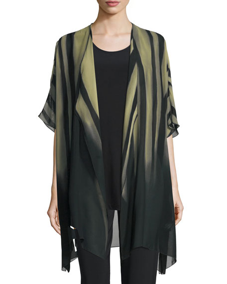 Caroline Rose Exotic Elements Open-Front Cardigan, Moss/Black,