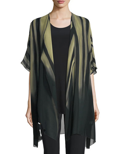 Exotic Elements Open-Front Cardigan, Moss/Black