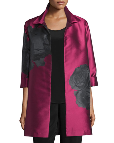 Rio Rose Open-Front Party Jacket, Deep Pink/Black, Petite