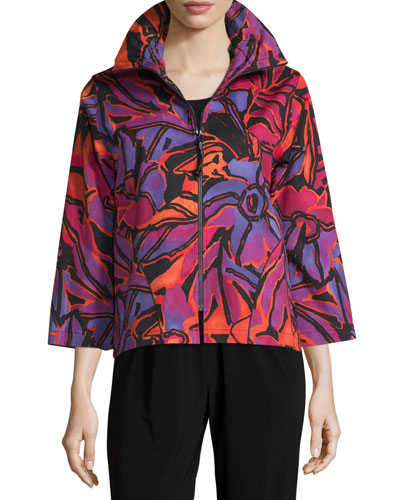 Samba Printed Zip-Front Jacket, Multi/Black