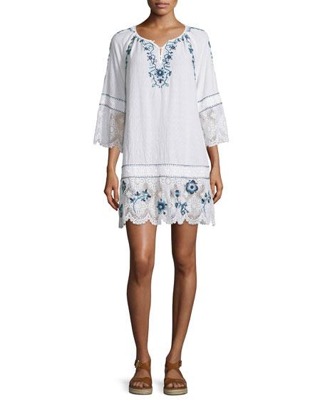 Calypso St Barth Tamtam 3/4-Sleeve Embroidered Dress, Coconut