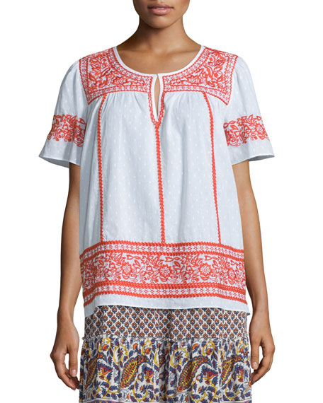 Calypso St Barth Vinduri Short-Sleeve Embroidered Top &