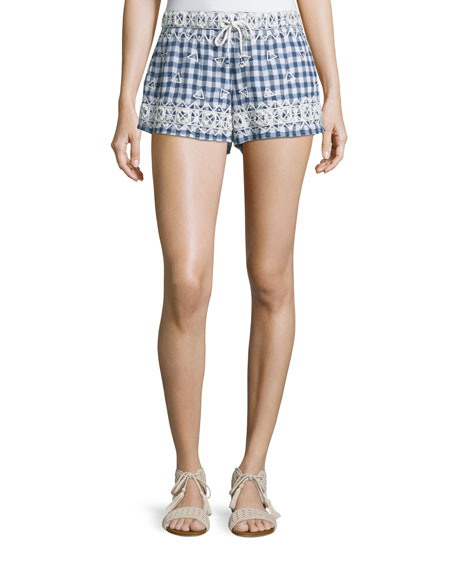 Calypso St Barth Junia Embroidered Check-Print Shorts, Navy