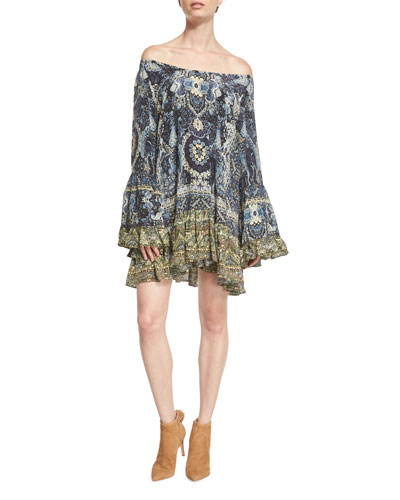 Off-The-Shoulder Embellished Frill Dress, Constantinople