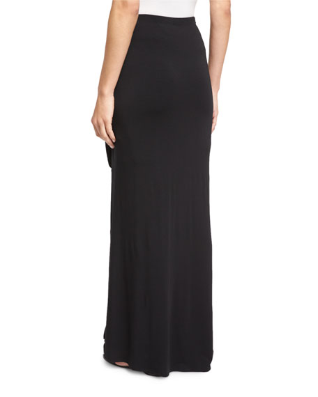 Bella Tie-Waist Maxi Skirt, Black
