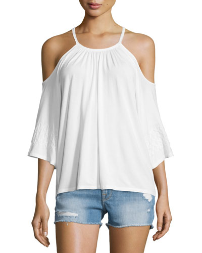 Bella Cold-Shoulder Top, Natural