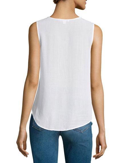 Sleeveless Lace-Up Ruffle Top, White