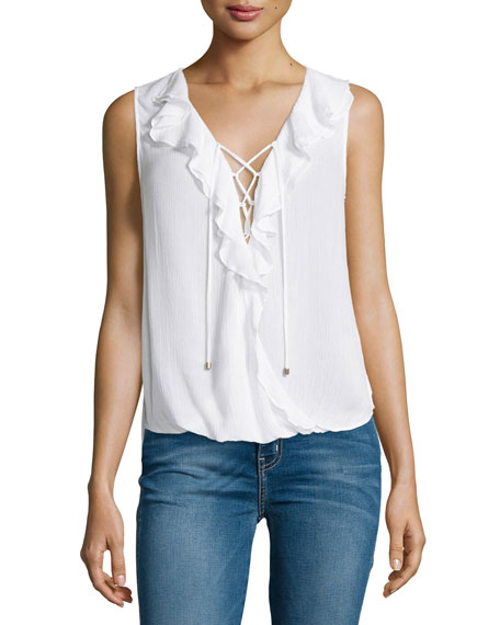 Sleeveless Lace-Up Ruffle Top, White