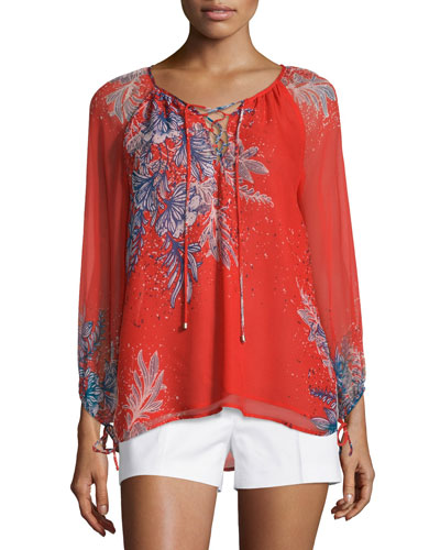 Zaneen Bracelet-Sleeve Lace-Up Top, Flame