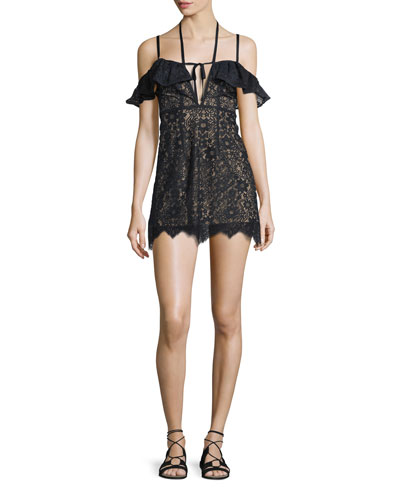 Rosemary Cold-Shoulder Lace Mini Dress, Black