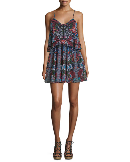 NICHOLAS Sleeveless Popover Mini Dress, Border Floral