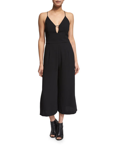 NICHOLAS Sleeveless Wide-Leg Cropped Jumpsuit, Black