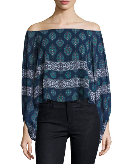 NICHOLAS Off-The-Shoulder Balloon-Sleeve Top, Temple Print