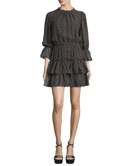 Michael Kors Collection Long-Sleeve Tiered Ruffle Dress,