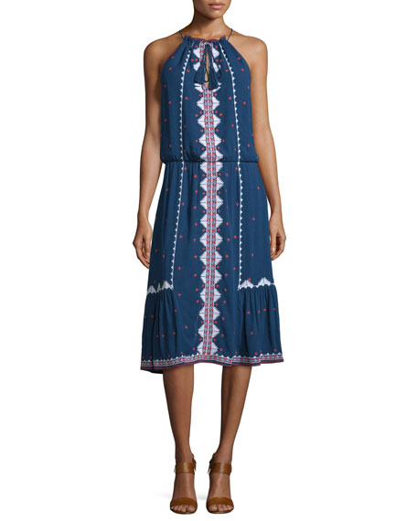 Parker Atlas Embroidered Blouson Midi Dress, Stealth