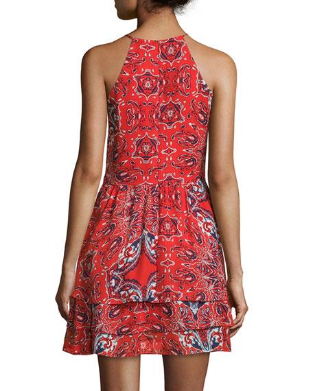 Dax Sleeveless Printed Dress, Flare Bandana