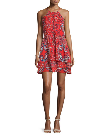 Parker Dax Sleeveless Printed Dress, Flare Bandana