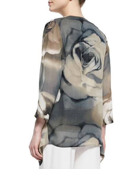 Draped Watercolor Rose-Print Jacket